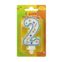 Свеча цифра 2 голубое конфетти