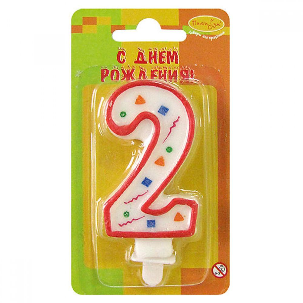 Свеча цифра 2 красное конфетти