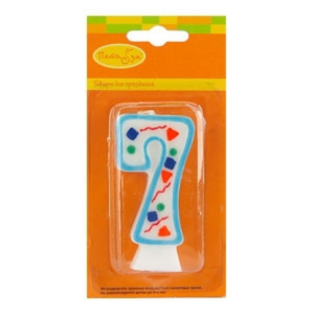 Свеча цифра 7 голубое конфетти