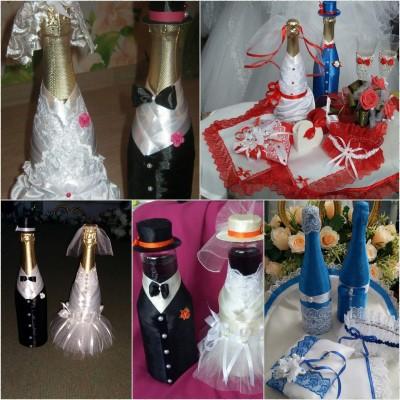 Оформление свадебного шампанского ассорти