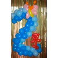 Плетеная цифра 2 из шаров Полянка