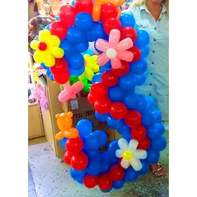 Плетеная цифра 3 из шаров Цветочки