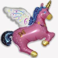 Шар с гелием фольга Фигура Волшебный Единорог розовый 113*108 см