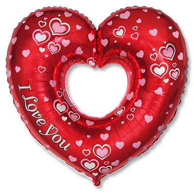 Шар с гелием фольга Сердце I Love You