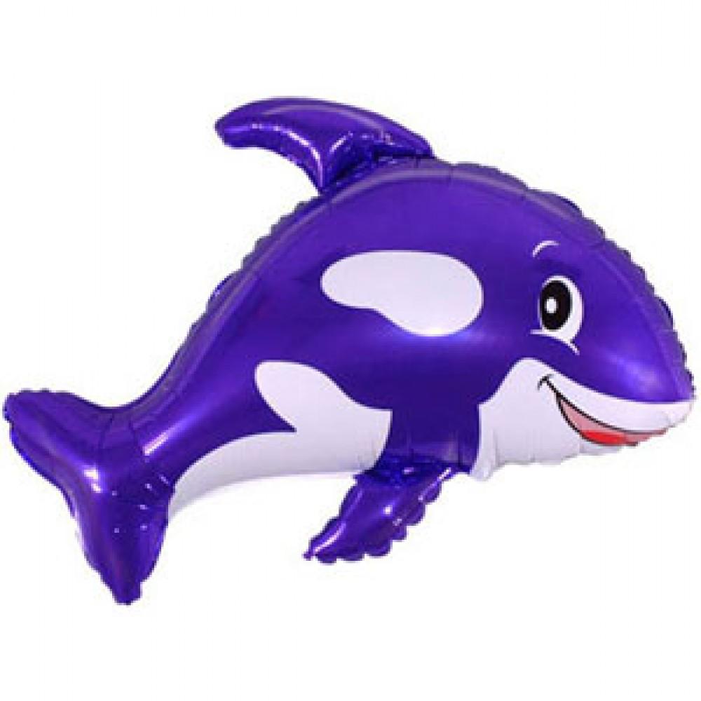 Шар с гелием фольга Фигура Кит фиолетовый 80*90 см