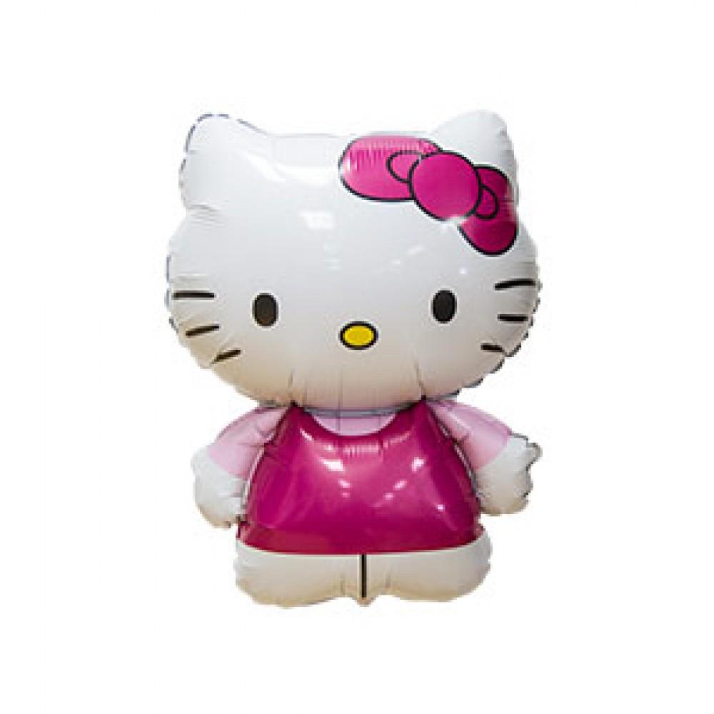 Шар с гелием фольга Фигура Hello Kitty розовая 67*49 см