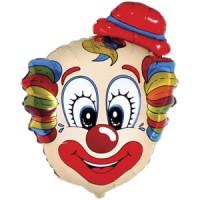 Шар с гелием фольга Фигура Голова клоуна 75*56 см