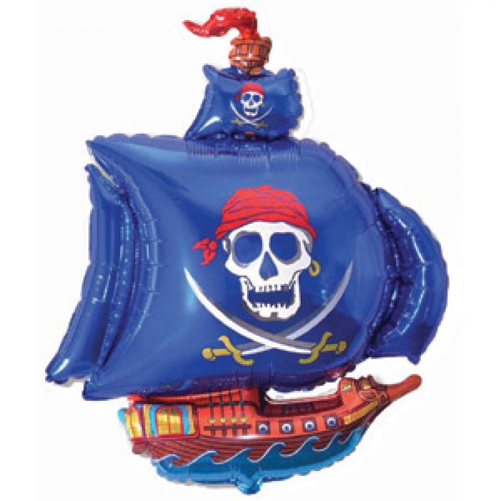 Шар с гелием фольга Фигура Пиратский корабль голубой 102*78 см