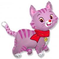 Шар с гелием фольга Фигура Кошечка розовая 91*93 см
