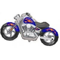 Шар с гелием фольга Фигура Мотоцикл синий 57*115 см
