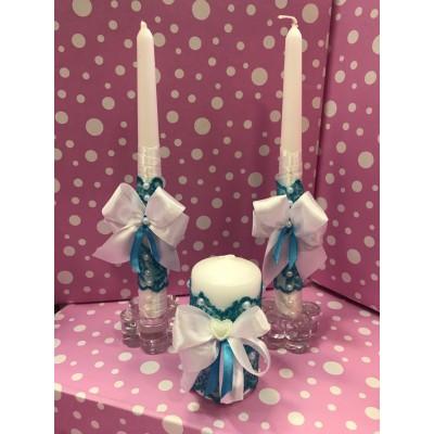 Свечи Семейный очаг голубые