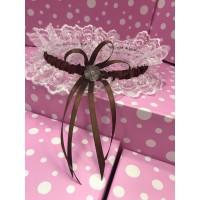 Свадебная подвязка коричневая