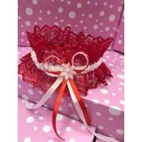 Свадебная подвязка красная