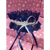 Свадебная подвязка синяя