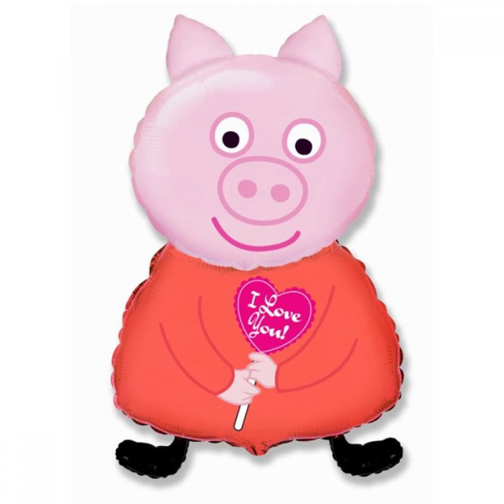 Шар с гелием фольга Фигура Поросенок розовый 89*45 см