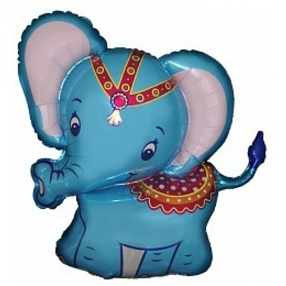 Шар с гелием фольга Фигура Слоненок голубой 81 см