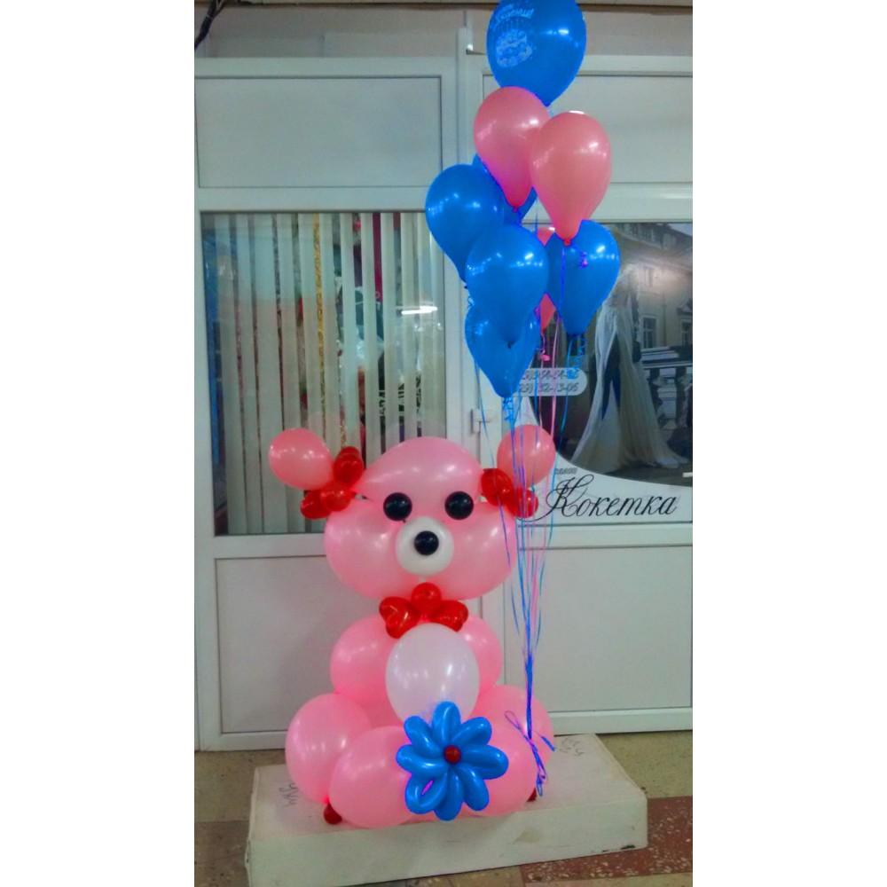 Плетеная фигура из шаров Собака с шариками