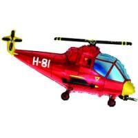Шар с гелием фольга Фигура Вертолет красный 57*96 см